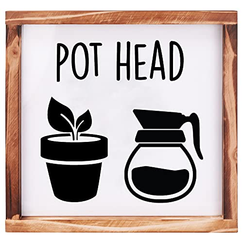 Dinavio Crafthouse Pot Head Farmhouse Kitchen Wall Decor Art Sign - Modern Home Vintage Farmhouse Kitchen Decor Wall Art Funny Coffee Bar Quotes - Rustic Garden Pictures Cute Kitchen Signs -12x12 Inch