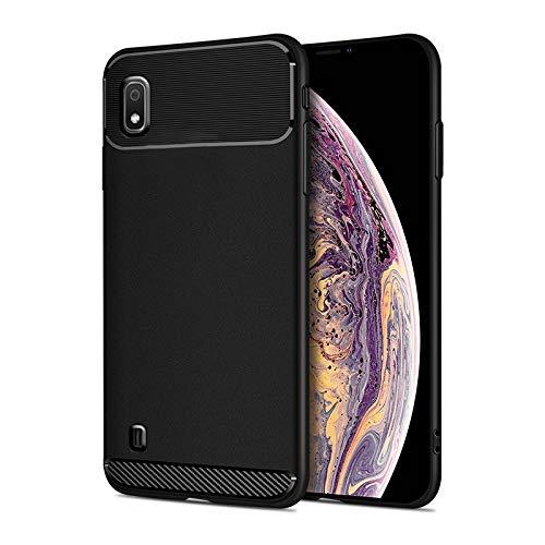 Happy-L Caso Samsung Galaxy A10 / M10, Funda de Armadura Flexible Delgada, Fibra de Carbono Protección Completa Silicone TPU TPU Funda (Color : Black)