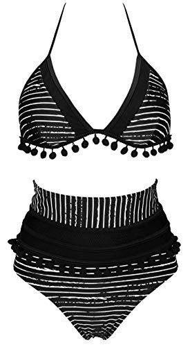 COCOSHIP Black Striped & White Balancing Act Mesh Net High Waist Bikini Set Pom Pom Tassel Top Halter Straps Swimsuit Beachwear 8