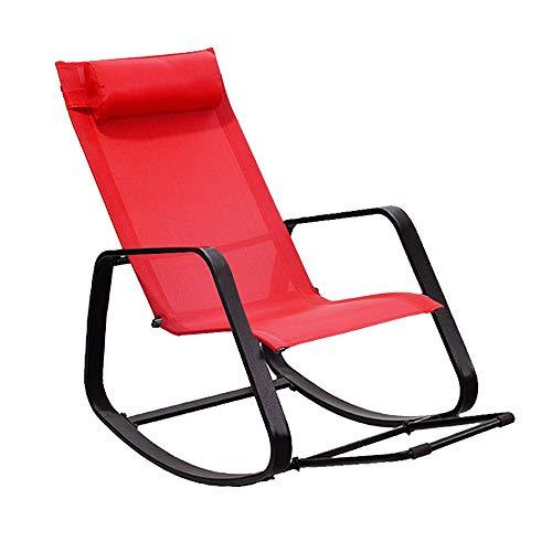 Bseack Fauteuil à bascule, design ergonomique Shake The Nature, appui-tête amovible, balcon, jardin, chaise de loisirs/pause déjeuner (Couleur : Rouge)
