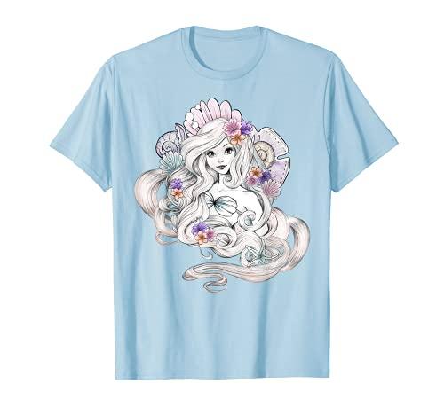Disney Little Mermaid Ariel Watercolor Floral Shell T-Shirt