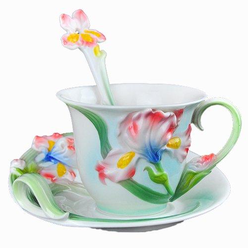 Choholete Porcelain Ceramic Tea Coffee Cup Set Elegant Pink Iris 1 Cup 1 Saucer 1 Spoon