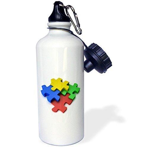 Cukudy kleurrijke puzzel ontwerp sport waterfles, 21oz, wit