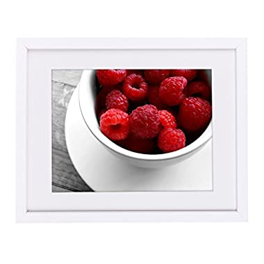 11x14 White Picture Frame - Made to Display Pictures 8x10 with Mat or 11x14 Without Mat - Wide Molding - Wall Mounting Material Included