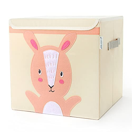 Cajas Almacenaje Infantil Caja Organizadora Cubo Plegable Caja de Tela Cuadrada con Tapa Baúl Juguetes Impermeable Cubo Organizador Cuarto de Niños - 33x33x33 cm , Conejo