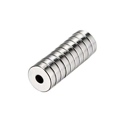 tinxi® 10 pièces Aimant Néodyme avec Trou Aimant avec super puissants Aimant N42, 10x3mm