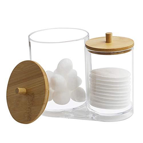 Boîte Rangement Coton-Tige Coton, Boîte Rangement Coton Acrylique, Boîte Coton-Tige Transparente, Boîte Ronde Coton-Tige Transparente, Boîte Rangement Coton, Boîte Coton Couvercle Bois, Binoculaire
