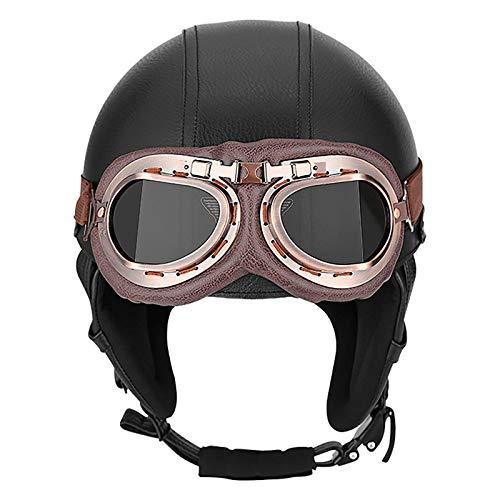 ACEMIC Casco de motocicleta de estilo alemán vintage con gafas de casco de motocicleta, certificado DOT de media cara, casco de guisante, cuatro estaciones al aire libre, medio casco E, L = 56 ~ 58 cm