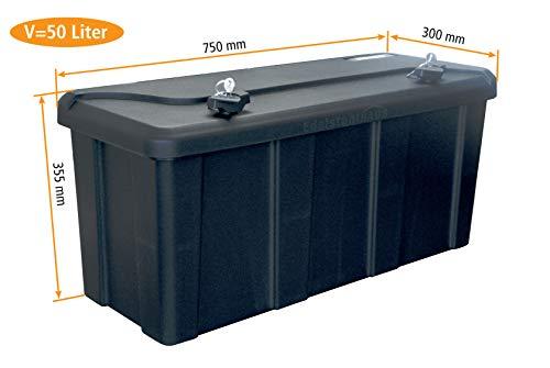 Blackit L - 750 x 300 x 355 mm, Deichselbox mit 2 Schlösser, Werkzeugkasten für Anhänger Staukiste 50 ltr Anhängerbox, Daken B50-2
