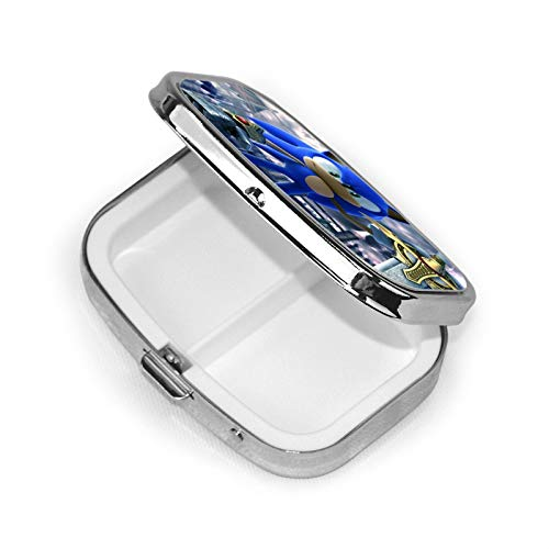 Sonic The Hedgehog Pill Box Square Metal Pill Case Two Compartment Pocket Medical Drug Tablet Medicine Storage One Size