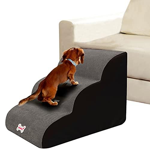 HXX Escaleras para Perro Gatos, Curvas Escaleras de Mascotas para Subir Sofá Cama, Fácil de Escalar, Antideslizante Rampa Escalera de Perro, 40x60x40cm Gris