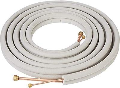 "Senville 25 Ft. Copper Pipes for Mini Split Air Conditioner, 3/8"" & 5/8"", White"