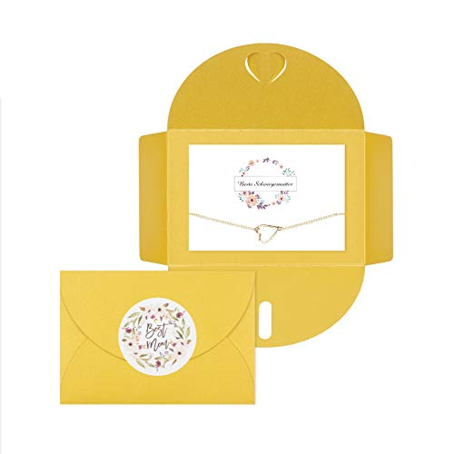 Lillyville - Geschenk für Schwiegermutter mit Karte und Herz Gold Armband, Bracelet - Beste Schwiegermutter - Umschlag Gelb