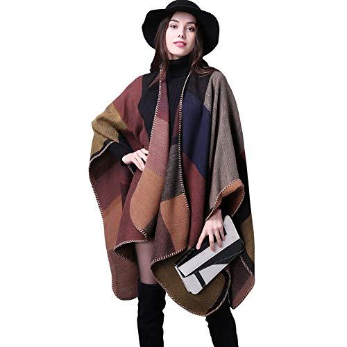 Bakerdani Women's Color Block Shawl Wrap Open Front Poncho Cape Cardigan Sweater