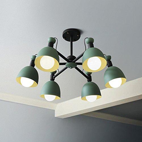 Plafonnier moderne simple Salon Plafonnier créatif Éclairage Salle à manger Chambre Appartement Cuisine Plafond plafond éclairage Fer Ampoule Ø75 cm 6 ampoules E27 40 W max. Vert