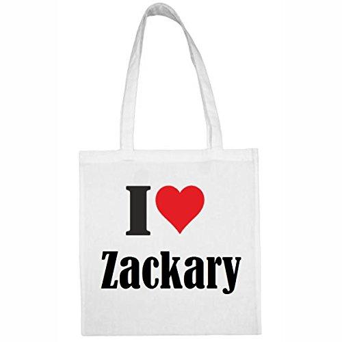 Tasche I Love Zackary Größe 38x42 Farbe Weiss Druck Schwarz