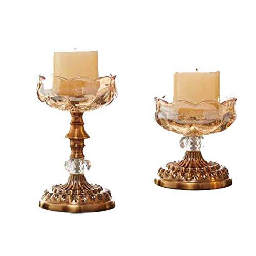 MUMA Bougeoirs décoration en verre cristal aux chandelles dîner accessoires de mariage (couleur: champagne + bronze) (taille : Two-piece)