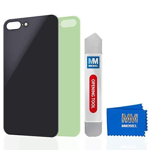 MMOBIEL Parte di Ricambio della Copertura Posteriore della Batteria in Vetro Compatibile con iPhone 8 Plus 5.5 inch (Nero) Adesivo preinstallato