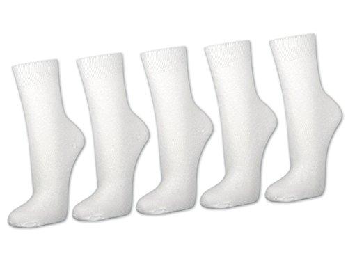 sockenkauf24 10 Paar Damensocken 100% Baumwolle ohne Naht Business Damen Socken Schwarz Weiß Beige Braun (35-38, Weiß)