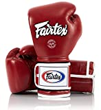 Fairtex Muay Thai Boxing Gloves BGV9 - Heavy Hitter Mexican Style - Minor Change Solid Black 12 14 16 oz. Training & Sparring Gloves for Kick Boxing MMA K1 (14 oz, Red/White Piping)