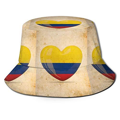 MayBlosom Fischer-Hutkolumbien-Flagge, Liebe, modisch, faltbar, tragbar, Sonnenkappen, Unisex, für den Außenbereich, UV-Schutz