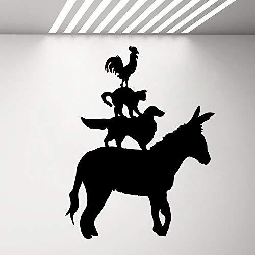Vinyl Wandtattoo Bauernhoftier Silhouette Esel Hund Katze Hahn Wandaufkleber Küche Wohnzimmer Dekoration Poster Aufkleber42x54 cm