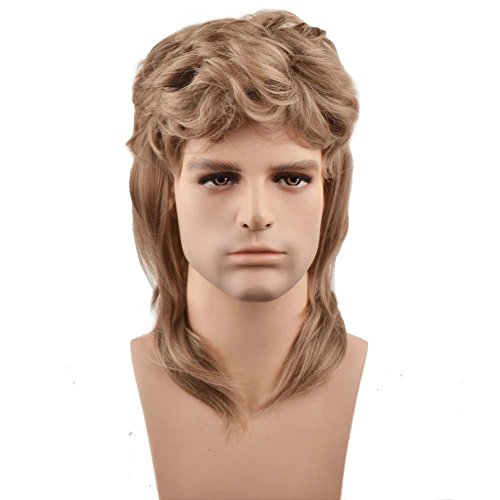 BERON 16'' New Stylish Men's Mullet Wig Costume Disco Party Synthetic Wigs Hairnet Included (Ash Blonde)