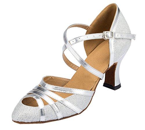 MGM-Joymod ,  Damen Durchgängies Plateau Sandalen mit Keilabsatz, Silber - Silver/7cm Heel - Größe: 37