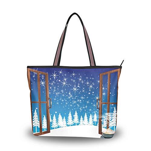 Eslifey Damen Handtasche mit Weihnachtsfenster, für Damen und Mädchen Gr. 38, multi