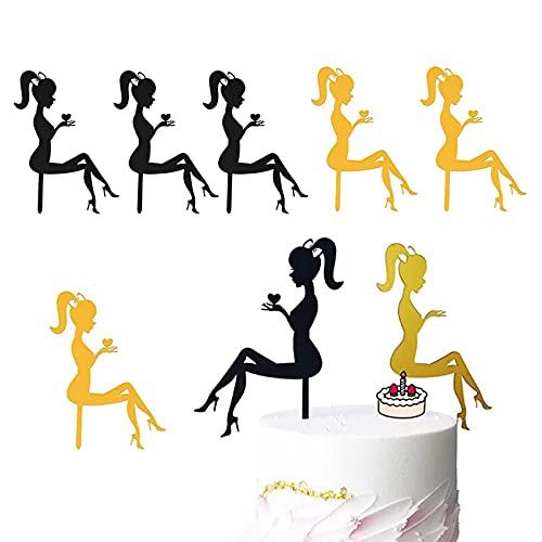 6 piezas Cumpleaños Pastel de silueta de acrílic,decoración para tartas de mujer...