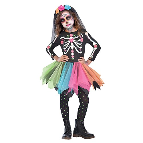 (Ages 8-10 Years) - Mexican Sugar Skull Costume - Age 8-10 Years