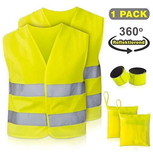 TN Sport 2er Pack Premium Kinder Warnweste Reflektorweste Leuchtweste für Kinder hohe Sicherheit durch 360 Grad Reflektoren kindersicherheitsweste