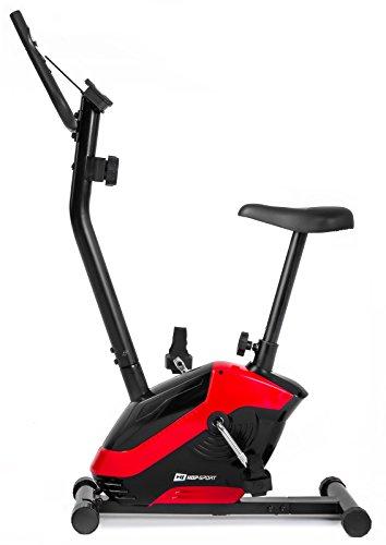 Hop-Sport HS-045H EOS Heimtrainer Fahrrad für Zuhause - kompaktes Fitnessbike mit Pulssensoren und Tablethalterung - Fitnessfahhrad mit Trainingscomputer für EIN max. Nutzergewicht von 120kg Rot