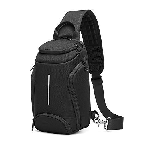 Mdsfe Men Crossbody Bag Multi-layer Messenger Bags Waterproof Short Trip Chest Bag Large Capacity Male USB Charging Shoulder Bag - Black, 19x10.9x30cm