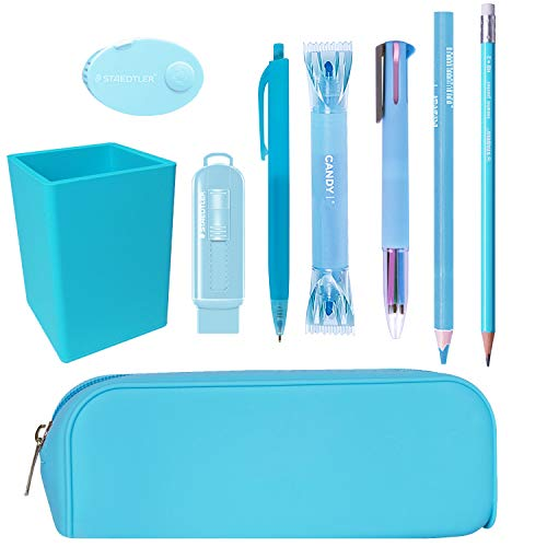 Pack Material Escolar Kawaii Colores Pastel Oficina Papeleria Bonita Lote Materiales Escolares Kawai Organizador Escritorio Utiles Escolares (Azul Pastel)