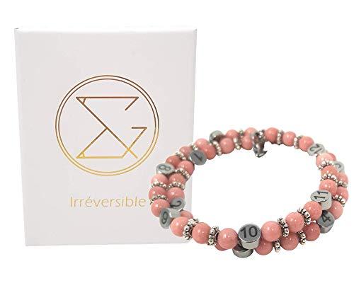 Pulsera de lactancia en perlas naturales cuarzo rosa - Joyería de diseño francés - Reloj de alimentación para la futura madre - Regalo de nacimiento para embarazadas