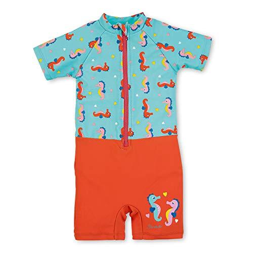 Sterntaler Kinder Mädchen Schwimmanzug mit Windeleinsatz, Einteiler, UV-Schutz 50+, Alter: 9-12 Monate, Größe: 80, Meeresblau