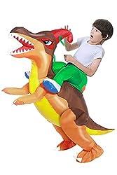 8. Camlinbo Child's Corythosaurus Rider Inflatable Dinosaur Costume