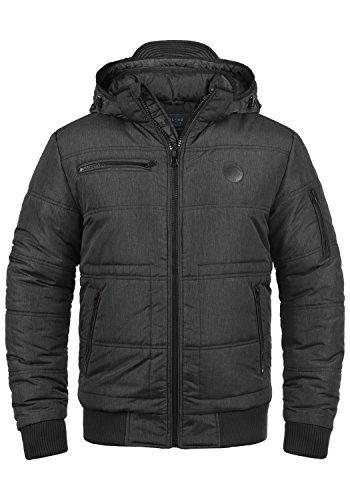 BLEND Boris Herren Winterjacke Jacke mit Stehkragen und abnehmbarer gefütterter Kapuze, Größe:M, Farbe:Black (70155)