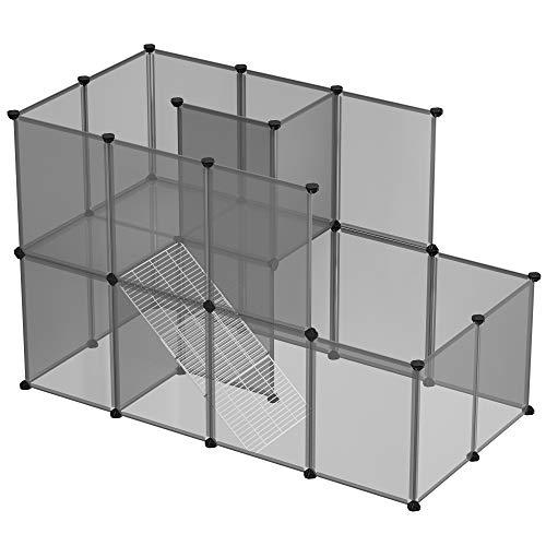 SONGMICS Meerschweinchen-Käfig, DIY-Hamsterkäfig aus Kunststoff, grau LPC003G01