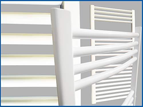 Badheizkörper SMYRNA Weiß 400 x 600 mm. Gebogen Standardanschluss Handtuchtrockner Handtuchwärmer