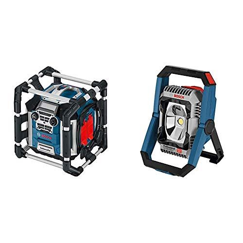 Bosch Professional 18V System Akku Baustellenradio GML 50 (50 Watt, USB, Aux-In, integrierter Akkulader) & 18V System Akku LED-Baustellenlampe GLI 18V-2200 C (max. Helligkeit 2.200 Lumen)