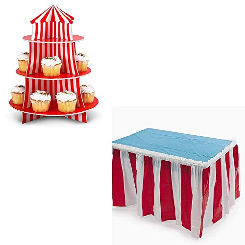 Fun Express Big Top Circus Cupcake Holder and Red White Striped Table Cover Skirt Bundle