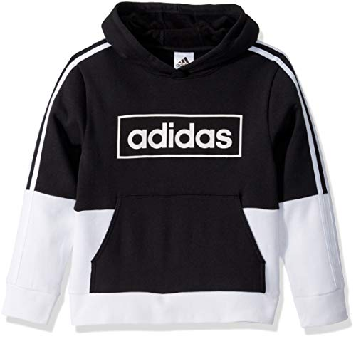 adidas Boys' Big Colorblock Pullover Sweatshirt, Black/Black, Medium