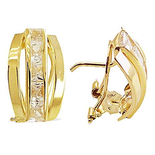 Pendientes de Bandas Mujer Oro Amarillo 18 Kt / 750 Mls Circonitas Blancas 12x8 Mm Cierre Omega