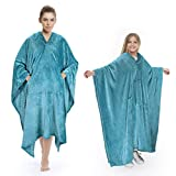 Poncho Blanket Comfy Plush Fleece Wearable Blanket for Adult Women Men Kids Throw Wrap Cover Indoors or Outdoors, 55''x 80'' Aqua