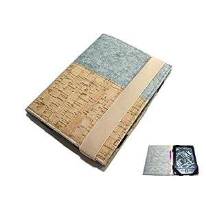 aufklappbare eBook Reader eReader Hülle Wollfilz Kork, Maßanfertigung z.B. für Kindle Paperwhite Tolino Shine 3