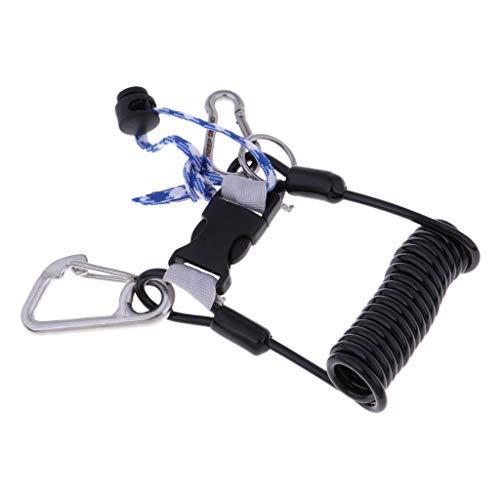 SM SunniMix Cordón de Buceo con Mosquetón Cable Espiral Elástico 120cm - Negro