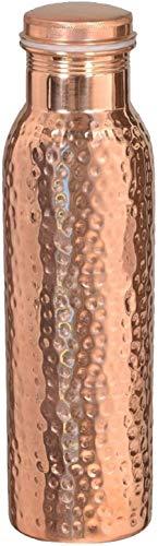 Botella de agua de cobre puro 100% cobre ayurvédica botella de cobre – tapón de sello de botella de agua a prueba de fugas, botella de cobre libre de juntas 32 oz martillada) 900 ml