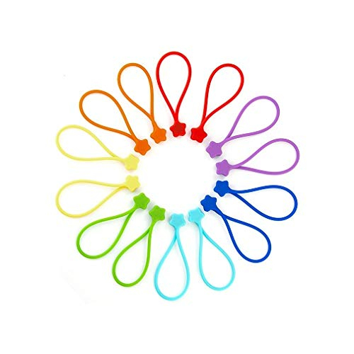 Fironst Reusable Silicone Strong Magnetic Cable Ties/Twist Ties for Bundling and Organizing,14 Pack Multi-Color Magnet Cord Winder for Cable Management, Hanging & Holding Stuff Silicone Cord Keeper